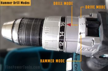 Hammer drill modes explained.